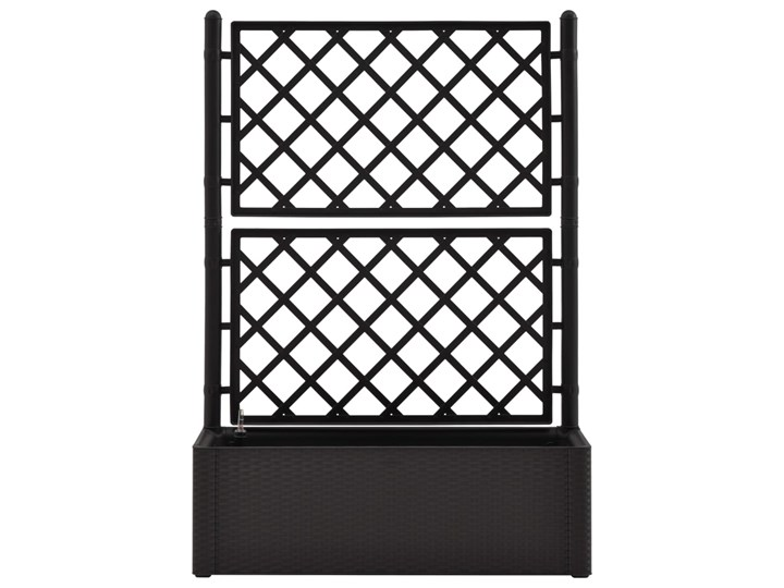 vidaXL Podwyższona donica z treliażem i systemem podlewania, antracyt Rattan Plastik Donica ogrodowa Donica balkonowa Kategoria Donice ogrodowe