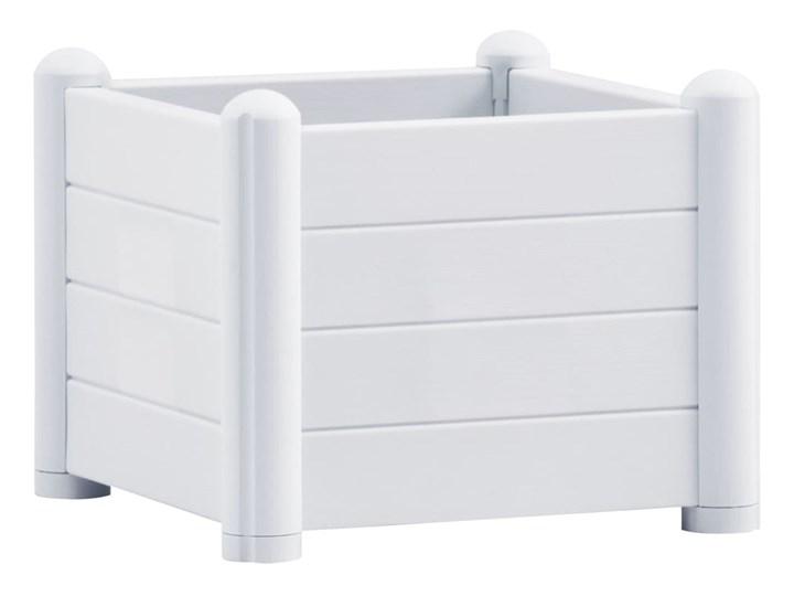 vidaXL Podwyższona donica, PP, biała, 43x43x35 cm Plastik Kwadratowy Donica ogrodowa Kolor Biały