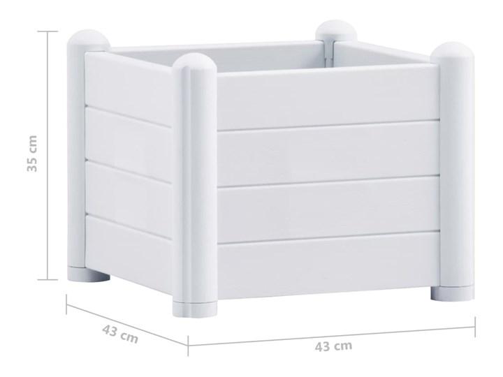 vidaXL Podwyższona donica, PP, biała, 43x43x35 cm Donica ogrodowa Plastik Kwadratowy Kolor Biały