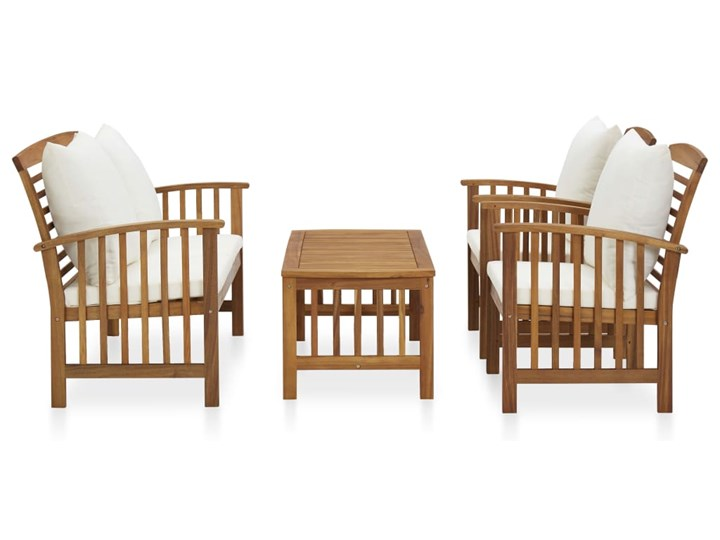 vidaXL 4-cz. zestaw wypoczynkowy do ogrodu, poduszki, drewno akacjowe Zestawy kawowe Zestawy wypoczynkowe Kolor Biały