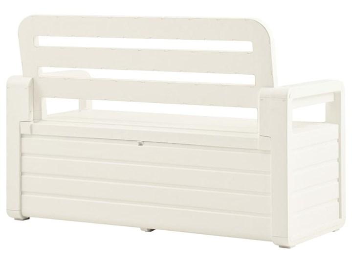 vidaXL Ławka ogrodowa, 132,5 cm, plastik, biała Ze skrzynią Tworzywo sztuczne Drewno Kolor Biały