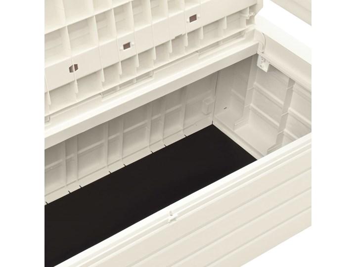 vidaXL Ławka ogrodowa, 132,5 cm, plastik, biała Tworzywo sztuczne Ze skrzynią Drewno Kolor Biały