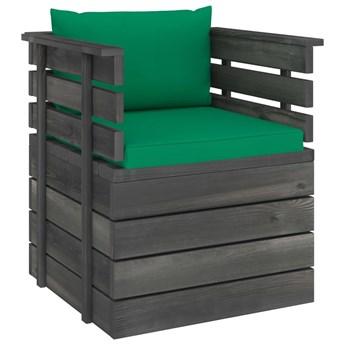 vidaXL Ogrodowy fotel z palet z poduszkami, drewno sosnowe