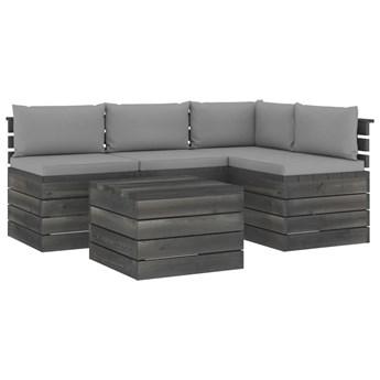 vidaXL 5-cz. zestaw wypoczynkowy z palet, z poduszkami, lita sosna