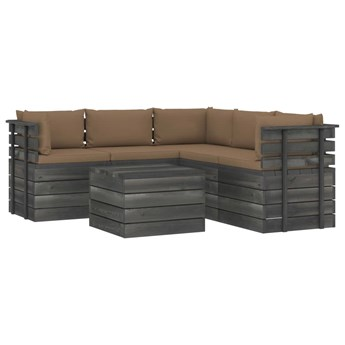 vidaXL 6-cz. zestaw wypoczynkowy z palet, z poduszkami, lita sosna