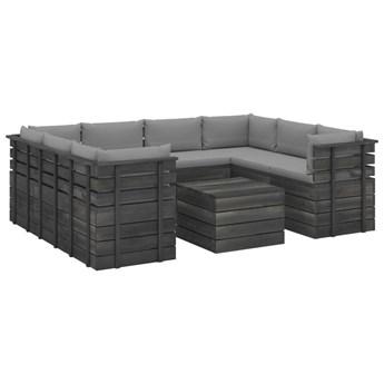 vidaXL 9-cz. zestaw wypoczynkowy z palet, z poduszkami, lita sosna