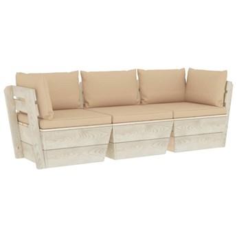 vidaXL Ogrodowa sofa 3-osobowa z palet, z poduszkami, drewno świerkowe