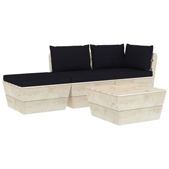 vidaXL 4-cz. zestaw wypoczynkowy z palet, z poduszkami, świerk