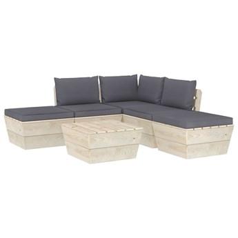 vidaXL 6-cz. zestaw wypoczynkowy z palet, z poduszkami, świerk