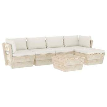 vidaXL 6-cz. ogrodowy zestaw wypoczynkowy z palet, poduszki, świerk
