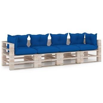 vidaXL Ogrodowa sofa 4-osobowa z palet, z poduszkami, drewno sosnowe