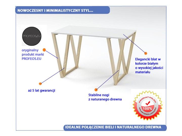 Skandynawski stół Inelo Viper Szerokość 60 cm Płyta MDF Drewno Sosna Rozkładanie Długość 120 cm  Wysokość 75 cm Kolor Biały