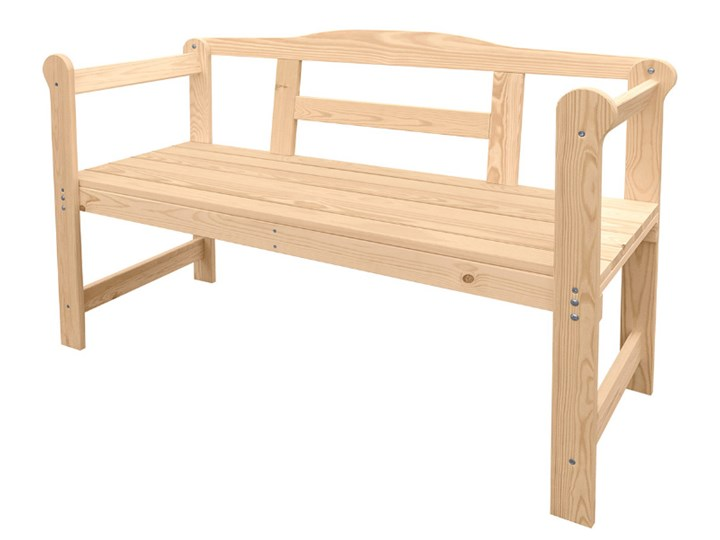 Drewniana ławka ogrodowa Długość 118 cm Drewno Styl Skandynawski