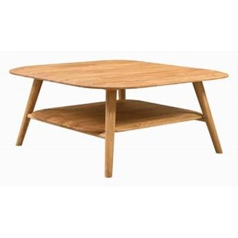 Stolik dębowy kwadratowy Fabio z półką - Olej naturalny