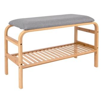 Bambusowa ławka z szarą tapicerką Leitmotiv Dure
