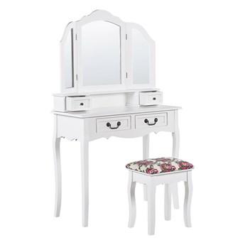 Beliani Toaletka biała 4 szuflady lustro z 2 skrzydłami ze stołkiem styl retro do sypialni
