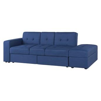 Sofa rozkładana niebieska 3-osobowa z pojemnikiem, otomaną i stolikiem z funkcją spania pikowana nowoczesna