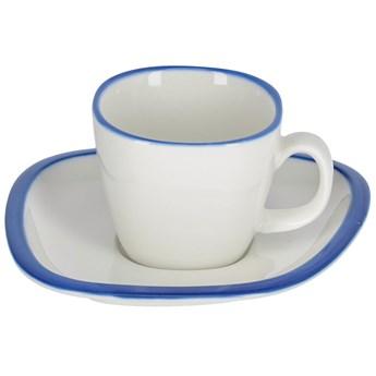 Filizanka do kawy ze spodkiem Odalin porcelana bialo-niebieska