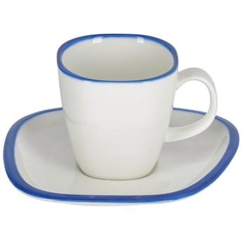 Kubek z talerzykiem Odalin porcelana bialo-niebieska