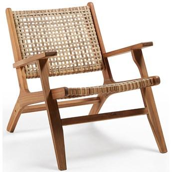 Fotel Grignoon z litego drewna akacjowego i 100% FSC plecionego rattanu syntetycznego