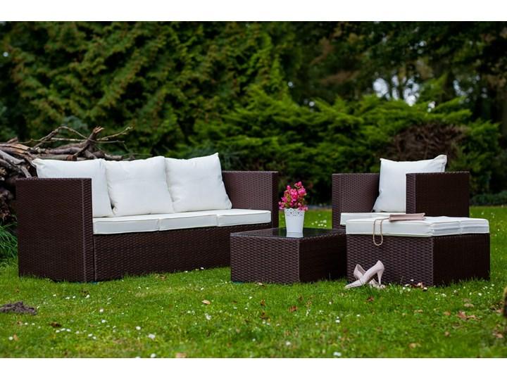 Meble ogrodowe AMARO z brązowego technorattanu Zestawy wypoczynkowe Liczba miejsc Pięcioosobowy Tworzywo sztuczne Stal Zawartość zestawu Fotele