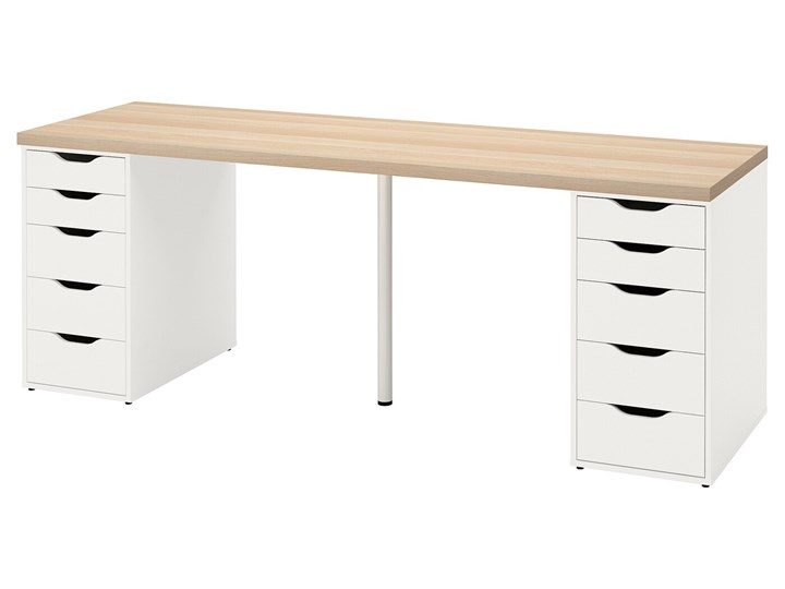 IKEA LAGKAPTEN / ALEX Biurko, Dąb bejcowany na biało/biały, 200x60 cm