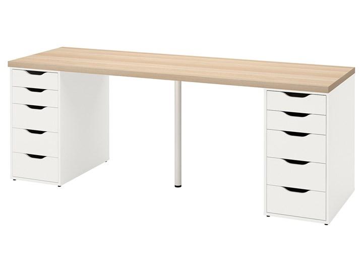 IKEA LAGKAPTEN / ALEX Biurko, Dąb bejcowany na biało/biały, 200x60 cm Biurko tradycyjne Stal Szerokość 200 cm Płyta MDF Kolor Beżowy Pomieszczenie Pokój nastolatka