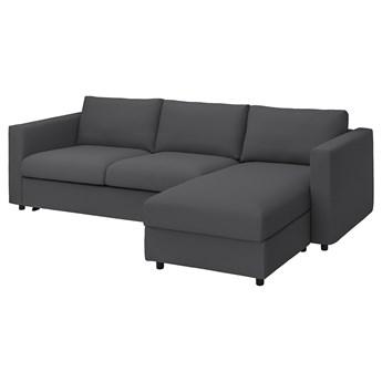 IKEA VIMLE Sofa 3-osobowa z szezlongiem, Hallarp szary, Wysokość łóżka: 53 cm