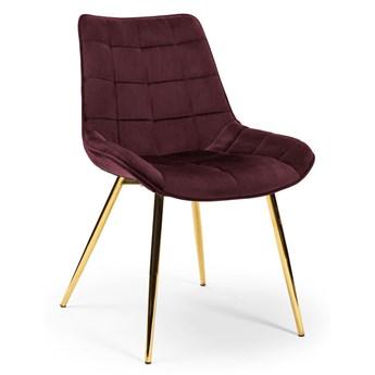 Krzesło KR burgund aksamit/ noga złota