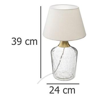 Lampa stołowa SILA, szklana, 39 cm, kolor biały
