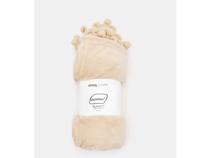 Sinsay - Koc z pomponami - Beżowy Kolor Biały 130x160 cm Kategoria Koce i pledy