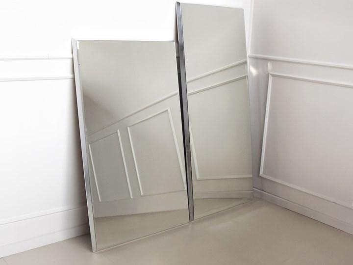 Nowoczesne fazowane lustro w srebrnej ramie 90 x 150 cm 12F-390