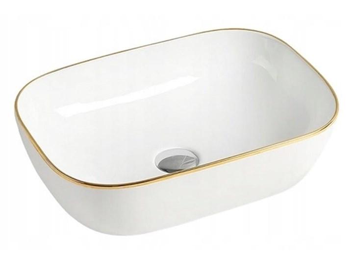 VELDMAN UMYWALKA NABLATOWA TOKYO 45 ZŁOTA KRAWĘDŹ Nablatowe Szerokość 45 cm Szerokość 46 cm Kategoria Umywalki Ceramika Owalne Meblowe Prostokątne Kolor Biały