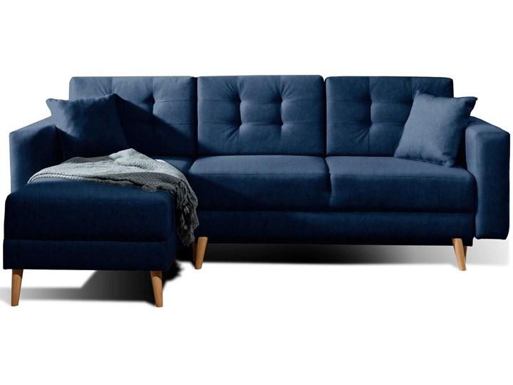 Narożnik rozkładany z pikowaniem Meblobranie Asgard L 250x162x87 niebieski Szerokość 250 cm Kolor Granatowy Wysokość 87 cm Materiał obicia Welur