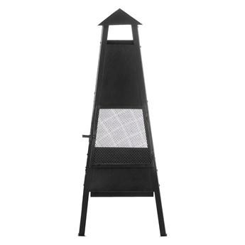Palenisko ogrodowe czarne stalowe 41 x 41 cm na węgiel i drewno