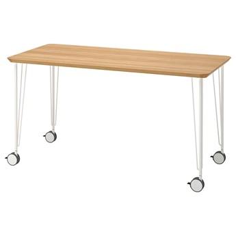 IKEA ANFALLARE / KRILLE Biurko, bambus/biały, 140x65 cm