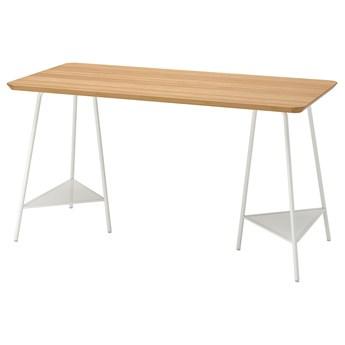 IKEA ANFALLARE / TILLSLAG Biurko, bambus/biały, 140x65 cm