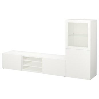IKEA BESTÅ Kombinacja na TV/szklane drzwi, Biały/Lappviken białe szkło przezroczyste, 240x42x129 cm