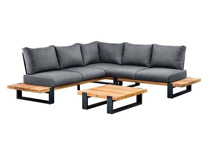 Zestaw wypoczynkowy na taras NARDO I antracyt Drewno Zestawy wypoczynkowe Aluminium Kolor Czarny