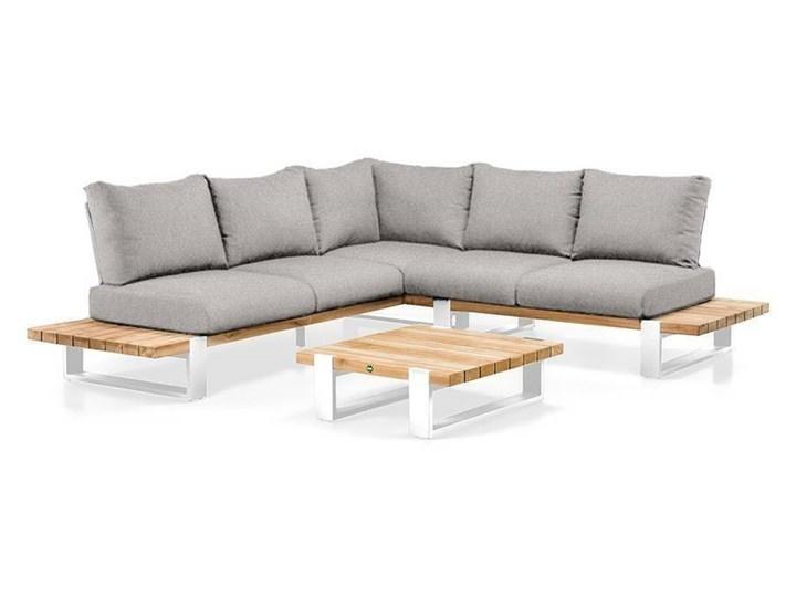 Zestaw wypoczynkowy na taras NARDO I biały Aluminium Drewno Zestawy wypoczynkowe Kategoria Zestawy mebli ogrodowych Kolor Czarny