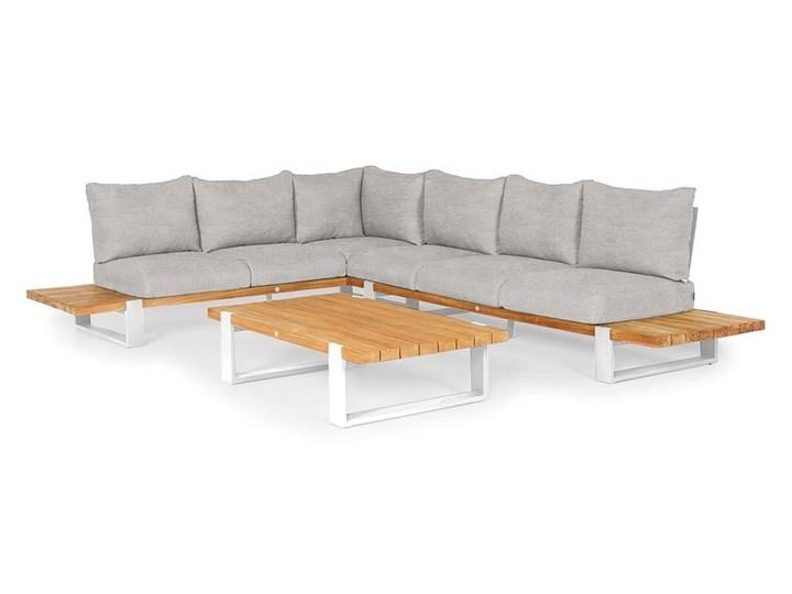 Zestaw wypoczynkowy do ogrodu NARDO II biały Aluminium Zestawy wypoczynkowe Drewno Kategoria Zestawy mebli ogrodowych