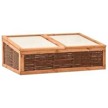 vidaXL Inspekt, 120x80x45 cm, lite drewno sosnowe i wiklina