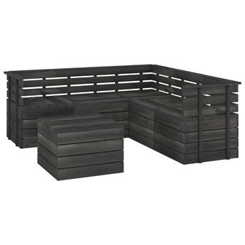 vidaXL 6-cz. zestaw mebli z palet do ogrodu, sosnowy, ciemnoszary