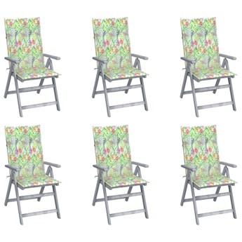 vidaXL Rozkładane krzesła ogrodowe z poduszkami, 6 szt., lita akacja