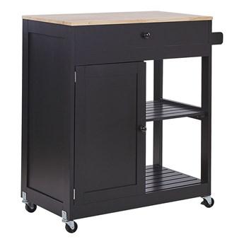 Wózek kuchenny czarny z drewnianym blatem 75 x 44 x 87 cm barek na kółkach z szafką i 2 szufladami