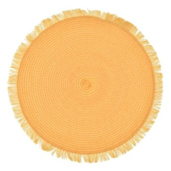 Podkładka okrągła z frędzlami DUKA KIMKA 35 cm żółta polipropylen