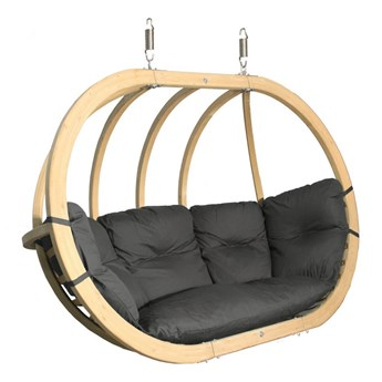 Fotel wiszący drewniany - Bubble Double Wood Graphite