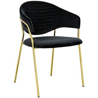 Welurowe krzesło na złotej podstawie Naomi