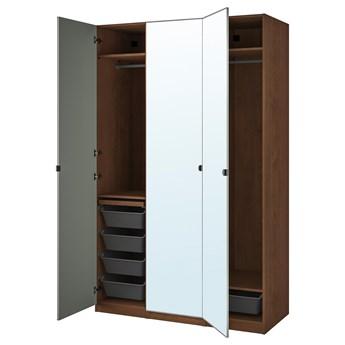 IKEA PAX / VIKEDAL Kombinacja szafy, imitacja okleiny bejc na brąz/lustro, 150x60x236 cm