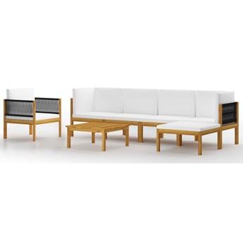 vidaXL 7-cz. zestaw wypoczynkowy do ogrodu, kremowe poduszki, akacja